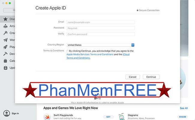 "Chọn tùy chọn ""Create Apple ID"""