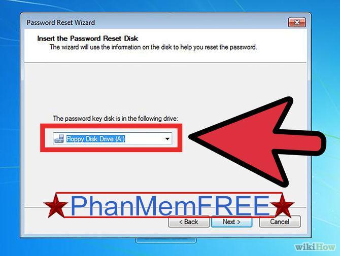 """Lựa chọn tùy chọn """"Password reset key disk"""" và chọn """"Next""""."""