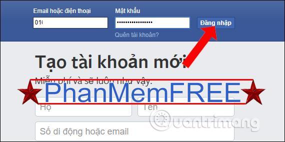 Đăng nhập Facebook bằng số điện thoại