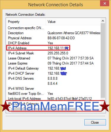 Địa chỉ IP của máy trong mạng Private