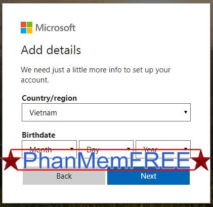 Điền ngày tháng năm sinh cho tài khoản Microsoft