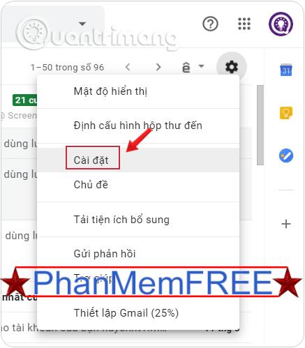 Vào Cài đặt tài khoản Gmail