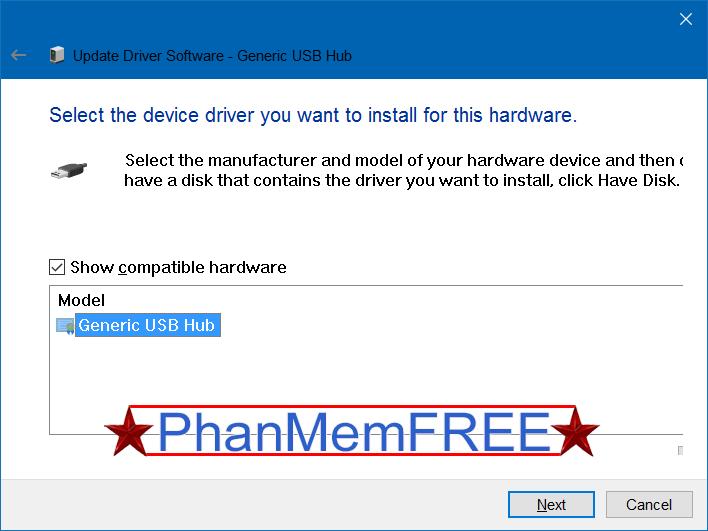chọn Generic USB Hub rồi click chọn Next