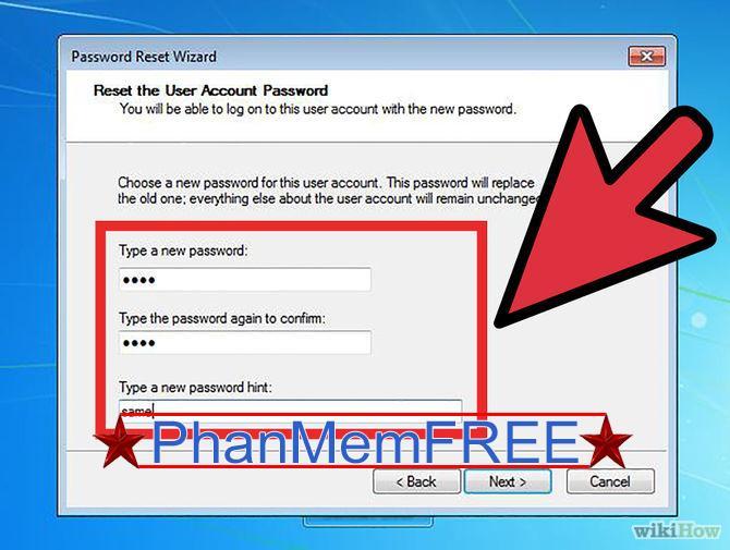 Gõ mật khẩu mới và hoàn thành thiết lập