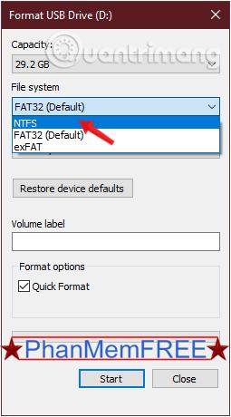 Thay đổi định dạng FAT 32 thành NTFS hoặc định dạng khác