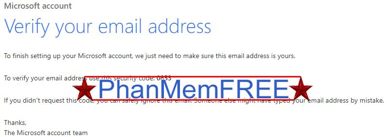 Mã xác nhận tài khoản Microsoft gồm 4 chữ số