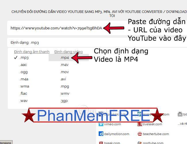 Copy paste url của video youtube