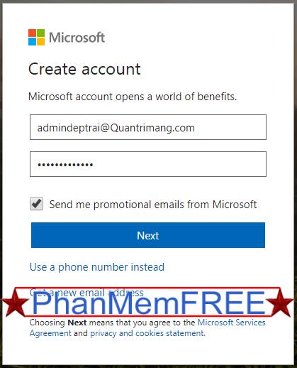 Điền email và mật khẩu để tạo tài khoản Microsoft
