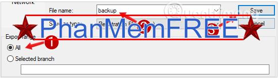 Save dữ liệu backup của Registry