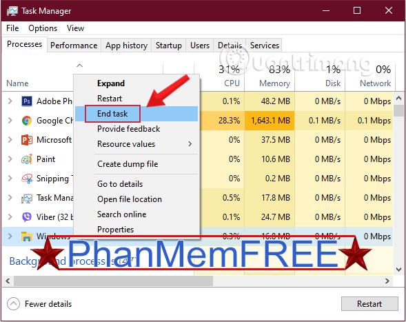 Đóng tiến trình Windows Explorer trong Task Manager