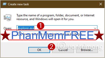 Gõ explorer.exe vào hộp thoại để hiển thị lại Windows UI