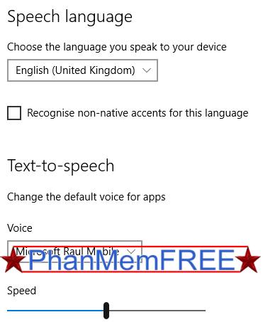 Các tùy chọn thay đổi Speech trong Windows 10