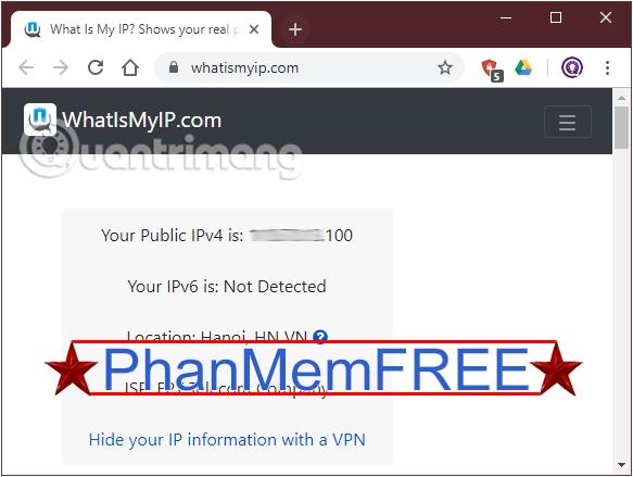 Tìm địa chỉ IP public với whatismyip.com