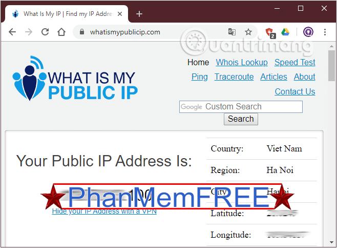 Tìm địa chỉ IP public với whatismypublicip.com