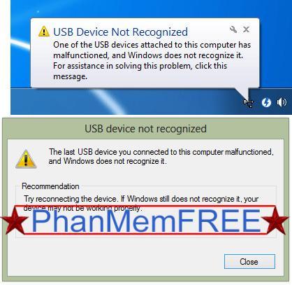 Thông báo lỗi USB Device Not Recognized