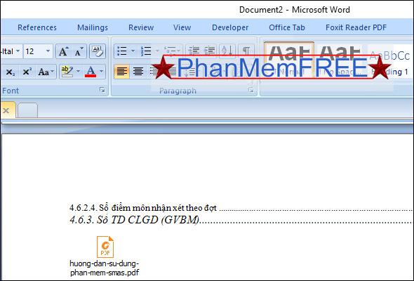 Hiển thị PDF trong Word