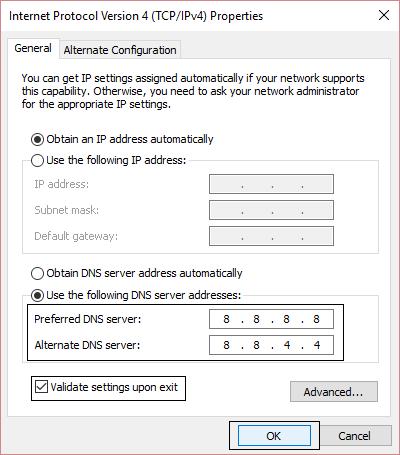 Nhập địa chỉ vào khung Preferred DNS server và Alternate DNS server