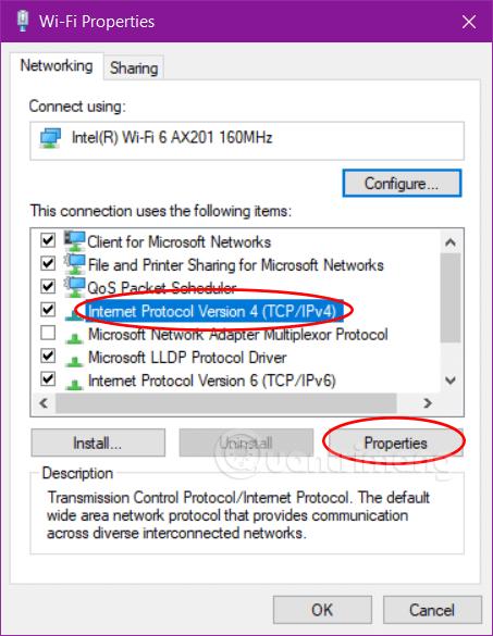 Mở Properties của IPv4