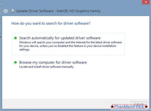2 tùy chọn cập nhật Driver
