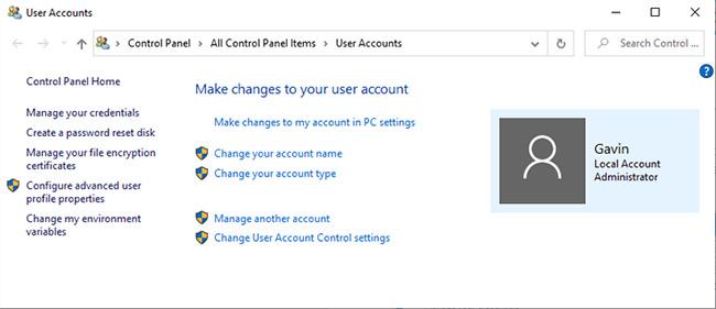 Kiểm tra loại tài khoản người dùng Windows