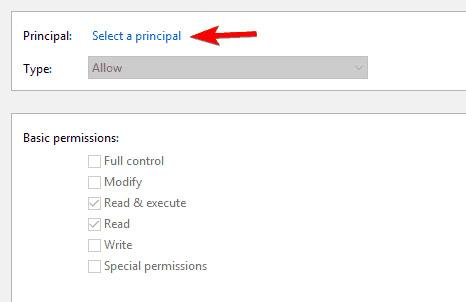 Nhấp vào Select a principal.