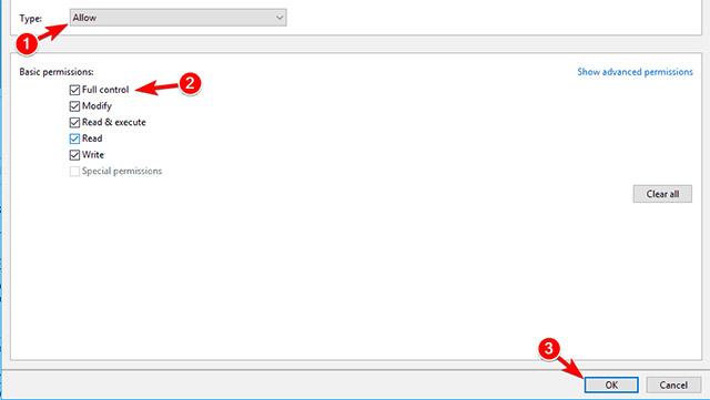 Đặt Type thành Allow và chọn tùy chọn Full control. Sau đó bấm vào OK để lưu các thay đổi.