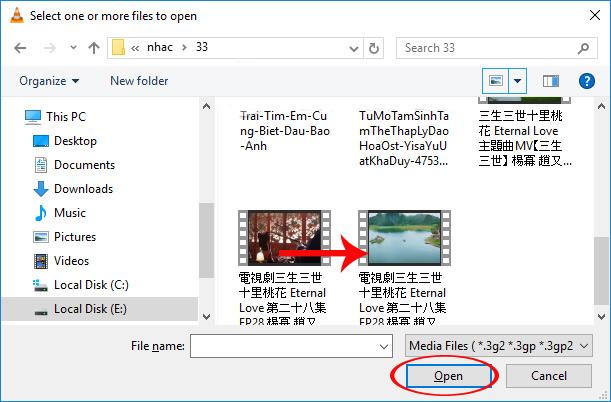 Chọn video muốn cắt trên VLC Media Player