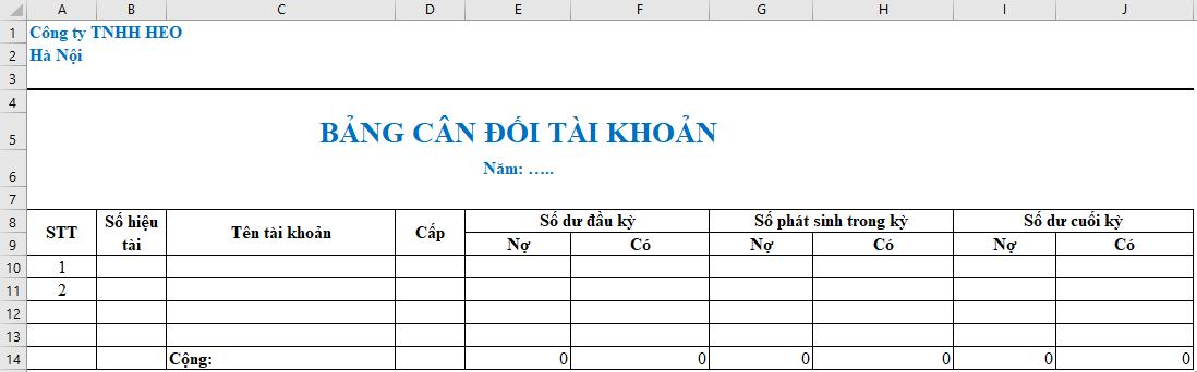 Bảng cân đối phát sinh bằng Excel