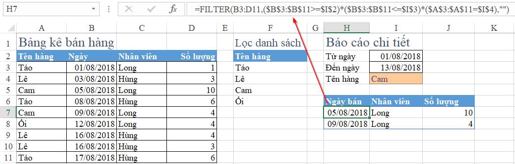Lập báo cáo tự động trong Excel