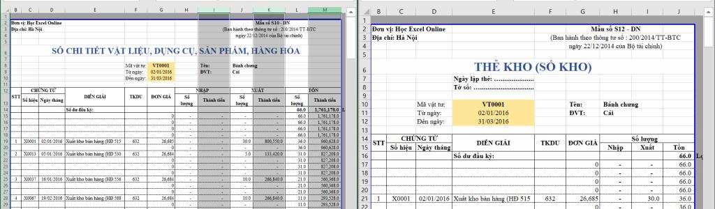 Lập thẻ kho trên Excel