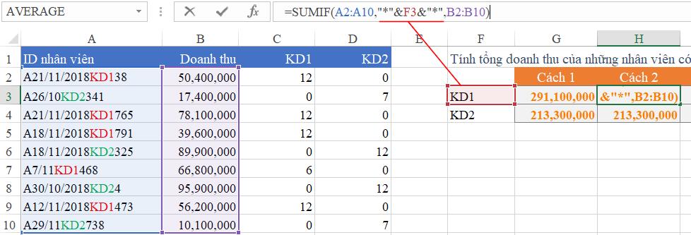 Tính tổng các mã giống nhau trong Excel