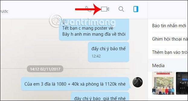 Cách gọi video call trên Zalo PC