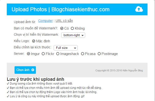 Website upload ảnh miễn phí, siêu tốc