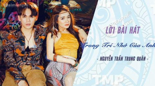 Lời bài hát Trong Trí Nhớ Của Anh, Nguyễn Trần Trung Quân
