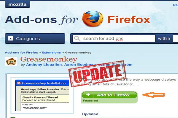 Tải Greasemonkey - một add-on tăng tốc cho Mozilla Firefox
