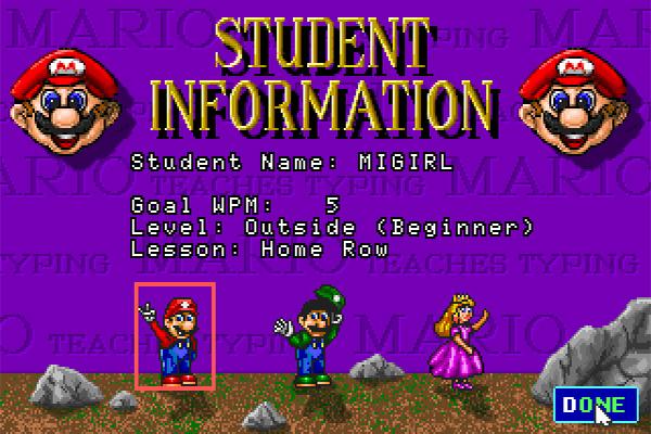 Cho -Game Mario Teaches Typing Luyen 10 Ngon