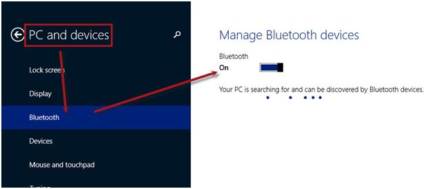 Cach Bat Bluetooth Windows 8