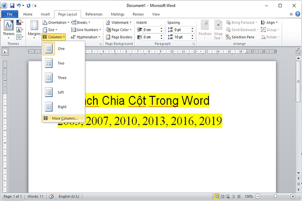 Cach Chia Cot Trong Word 2010