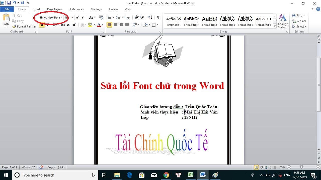 Cach Sua Loi Font Word