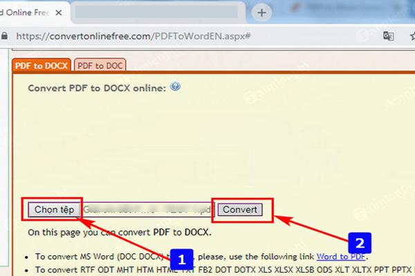 Chuyen PDF sang Docx Convert Online Free