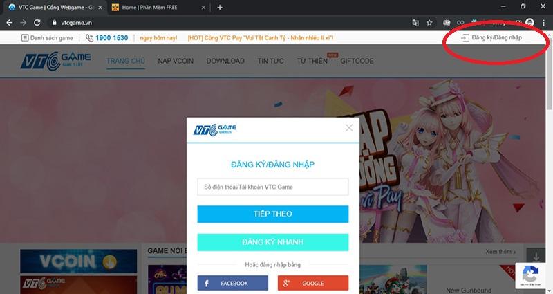 Dang Nhap Dang Ky Tai Khoan VTC Game