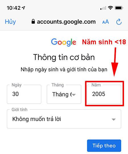 Dang ky gmail khong can so dien thoai 17