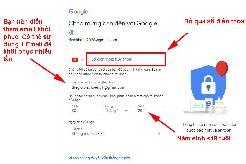 Dang ky gmail khong can so dien thoai 3