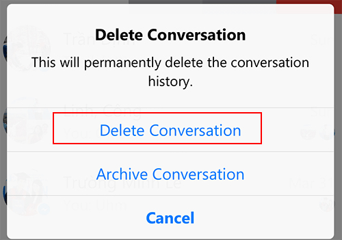 Delete Conversation Facebook