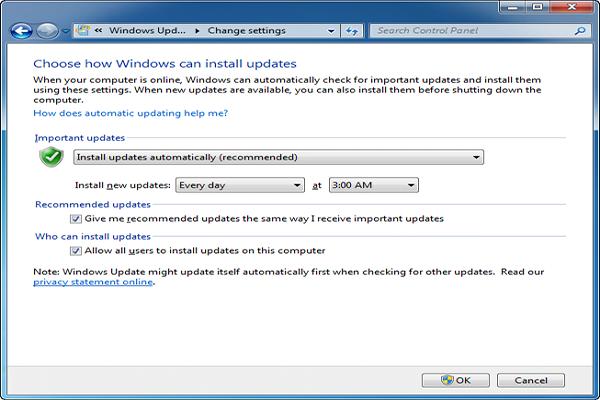 Tắt Update Trên Windows 7