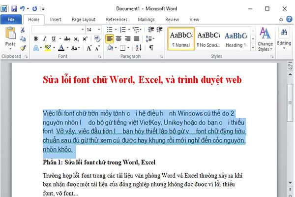 Word bi loi font