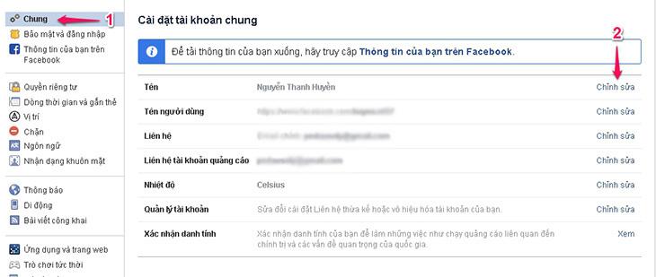 cach doi ten facebook tren may tinh 2
