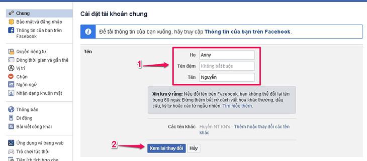 cach doi ten facebook tren may tinh 3