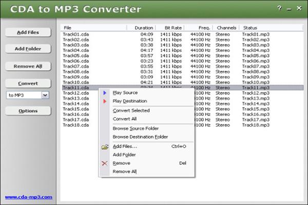 Su Dung CDA to MP3 Converter